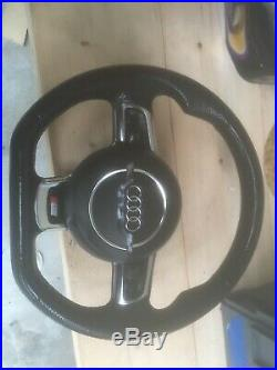Audi S-line Black Edition Flat Bottom Leather Steering Wheel, A6, A4, A3, tt, S3, S6