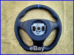 BMW E60 E61 07-10 NEW LEATHER ERGONOMIC INLAYS STEERING WHEEL FLAT THICK carbon