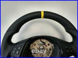 BMW E90 E91 E84 NAPPA LEATHER ERGONOMIC INLAYS STEERING WHEEL FLAT THICK yellow