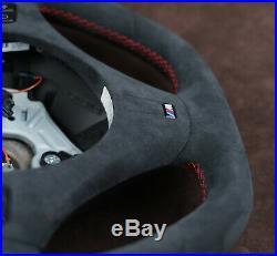 BMW custom steering wheel red stitch M Flat bottom M E91 E82 E90 E87 E88 E81 E92