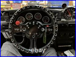 Black Flat Dish Lightweight Drag Racing Performance Spoke Steering Wheel 5-Bolt