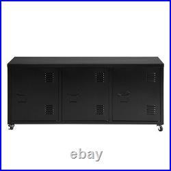 Black Sideboard 3 Door Cupboard Modern Metal Storage Cabinet TV Stand wwith Wheels
