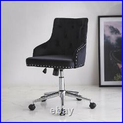 Black Velvet Office Chair Ergonomic Adjustable Swivel Home Computer Desk Chair