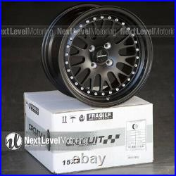 Circuit CP21 15x8 4-100 +25 Full Flat Black Wheels Fits Honda Civic EK EG Mesh
