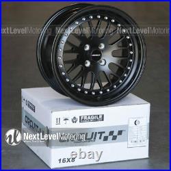 Circuit CP21 16x8 4-100 +25 Flat Black Wheels Fits Acura Integra DC2 GSR LS GS