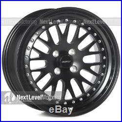 Circuit CP21 16x8 4-100 +25 Flat Black Wheels Fits Honda Civic EK EG Mesh Lip