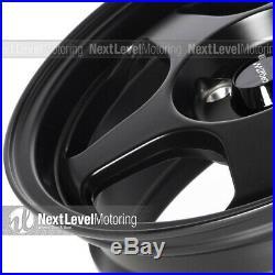 Circuit CP22 15x6.5 4-100 +35 Flat Black Wheels Fits Acura Integra LS GSR DC2