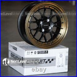 Circuit CP27 15x7 4-100 +35 Flat Black Bronze Lip Wheels Fits Honda Civic EG EK