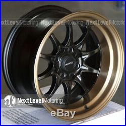 Circuit CP29 15x8 4-100 4-114.3 +0 Flat Black Bronze Lip Wheels Fits Honda Civic