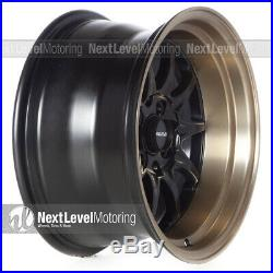 Circuit CP29 15x8 4-100 4-114.3 +0 Flat Black Bronze Lip Wheels Fits Mazda Miata