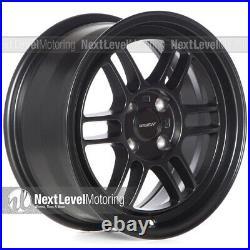 Circuit CP37 15x7 4-100 +28 Flat Black Wheels RPF1 Style Fits Mazda Miata NA NB