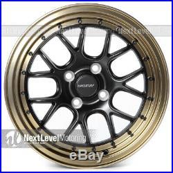 Circuit Performance CP27 15x7 4-100 +35 Flat Black Bronze Lip Wheels (SET OF 4)