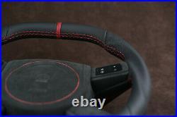 Custom steering wheel Flat bottom Square Top HEMI srt8 Alcantara + Nappa leather