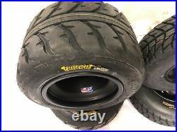 DWT A5 Black Front Rear Rims Wheels Speed Racer Street Tires TRX 450R 250R LTR45