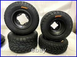 DWT A5 Black Front Rear Rims Wheels Sunf Street Tires YFZ450 Raptor Banshee 350