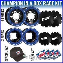 DWT Blue Champion in a Box 10 Front 9 Rear Rims Beadlock Wheels YFZ450 Raptor