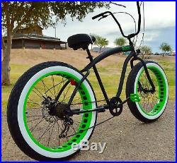 Fat Tire Beach Cruiser Bike Flat Black w Green Wheels 7 SPEED-CUTOUT RIMS