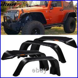 Fits 07-17 Jeep Wrangler JK Flat Texture Fender Flares with Side Marker Lights