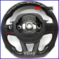 Fits Dodge Challenger Custom Carbon Fiber & Leather Flat Bottom Steering Wheel