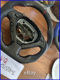 Fits Infiniti G37 Black CARBON FIBER FLAT BOTTOM STEERING WHEEL Round Top