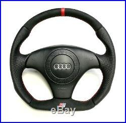 Flat Bottom Steering Wheel A4 S4 (b5) A6 (c5) Alcantara Leather Red Stripe