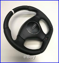Flat Bottom Steering Wheel Audi Rs4 B5! R8 Shape! Perforated Leather