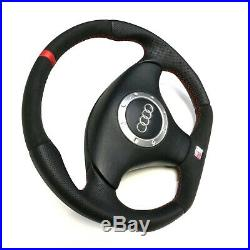 Flat Bottom Steering Wheel Audi Tt Mk1 Alcantara Leather Red Stripe