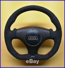 Flat Bottom Steering Wheel S4 B6 Rs6 C5! Extra Padding! Alcantara R8 Style