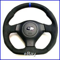 Flat Bottom Steering Wheel Subaru Impreza Gd Wrx Sti! Full Alcantara + Stripe