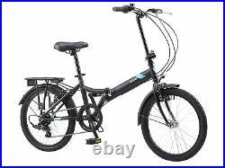 Folding Bike Coyote Swift 20 Wheel Unisex Folder Bicycle 6 Speed Matt Black