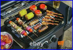 Garden Outdoor Portable Gas Bbq Barbecue Grill Side Table, Burner And Wheels