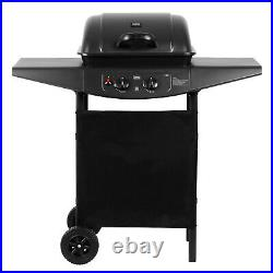 Gas BBQ Barbecue Outdoor Cooking 2 Burners Stainless Steel Large Grate Wheels UK