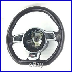 Genuine Audi S Line flat bottom black leather MFSW steering wheel. S3 A3 TT. 2C