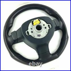 Genuine VW MK5 Golf GTI black leather flat bottom MFSW DSG steering wheel. D2