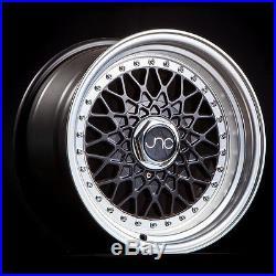 Jnc 004 16x8 4x100/4x114.3 +25 Matte Black Machined Lip Set Of 4 Wheels