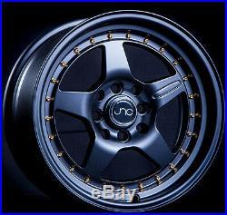 Jnc 009 15x8 4x100/4x114.3 +25 Matte Black Gold Rivets Set Of 4 Wheels