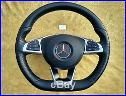 MERCEDES C W205 GLC X253 NAPPA LEATHER STEERING WHEEL FLAT BOTTOM AMG/Sport