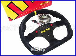 MOMO Steering Wheel Mod 30 (320mm/Suede/Black Spoke/Thumb Buttons/Flat Bottom)