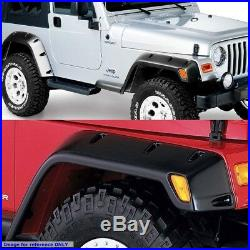 Matte Black ABS Pocket-Rivet Style Wheel Fender Flare For 97-06 Jeep Wrangler TJ