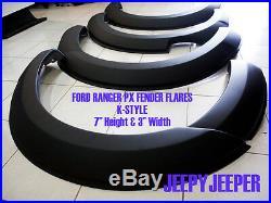 Matte Black Fender Flares Wheel Arches For Ford Ranger Px Xlt XL Wildtrak 12-15
