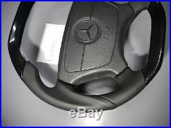 Mercedes Steering Wheel piano black wood flat bottom top w140 w124 sl 500e S600