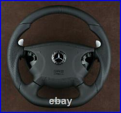 Mercedes W211 E55AMG custom steering wheel metal paddles flat bottom Leather SRS