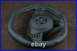 Mercedes custom Steering Wheel flat top & bottom Alcantara silver Paddles thick