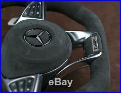 Mercedes custom steering wheel 09-19 Alcantara big Paddles flat top COMPLETE OEM
