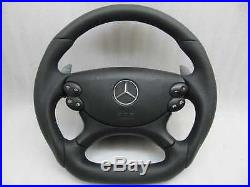 Mercedes custom steering wheel paddle shift flat bottom black W219 W209 W211 AMG