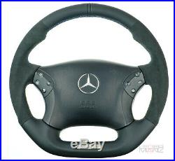 Mercedes custom thick steering wheel flat bottom W203 C350 C55AMG Nappa + SUEDE