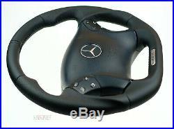 Mercedes custom thick steering wheel flat bottom W203 C350 C55AMG full leather