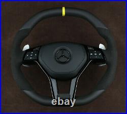 Mercedes steering wheel Piano black flat top & bottom W204 W218 W212 W463 W166