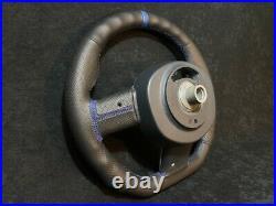 Mini Cooper Custom Steering Wheel R55 R56 R57 R58 R59 Flat Bottom Leather Blue
