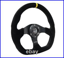 NEW NRG STEERING WHEEL FLAT BOTTOM BLACK STITCH With CENTER MARK RST-024MB-S-Y
